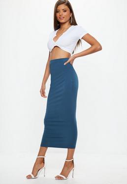Falda midi en azul