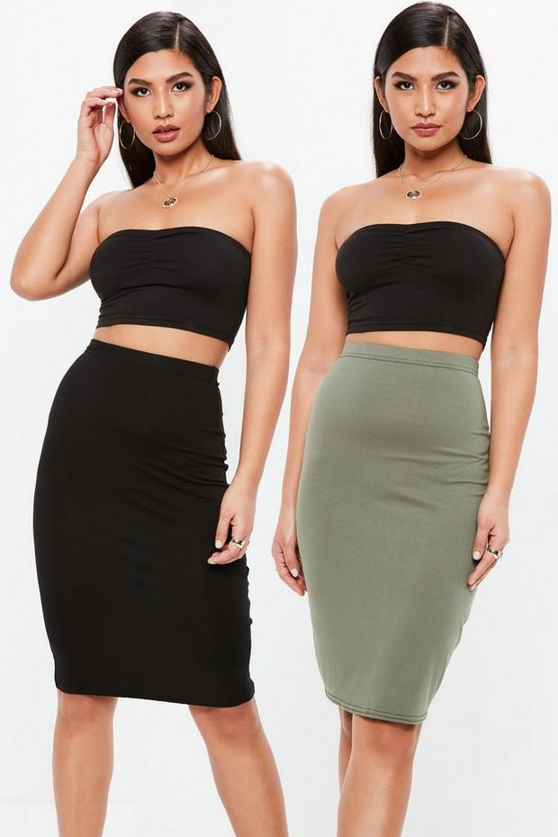 Black And Khaki Two Pack Midi Skirt