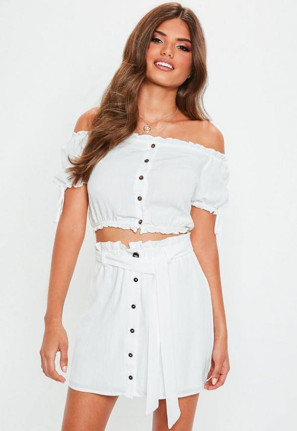 White Linen Button Through Paperbag Waist Skirt by Missguided