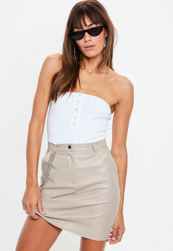 Gray Faux Leather Chain Detail Mini Skirt by Missguided