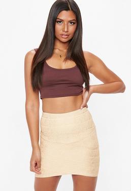 Gold Foiled Bandage Asymmetric Mini Skirt
