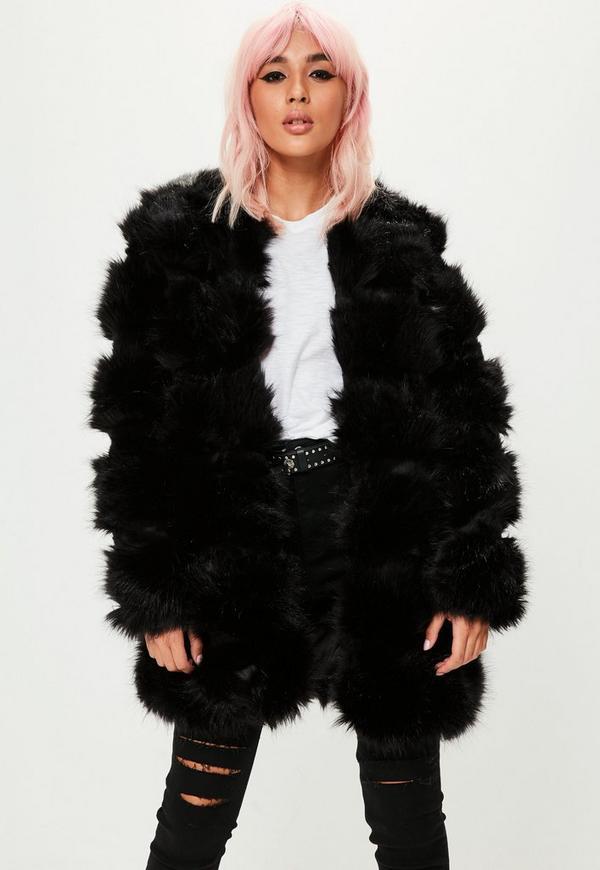 veste sans col noire en fausse fourrure missguided. Black Bedroom Furniture Sets. Home Design Ideas
