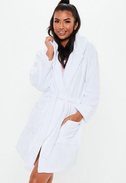 bb1ba40591 Plus Size Black Satin Piped Detail Dressing Gown · White Fluffy Hooded Dressing  Gown