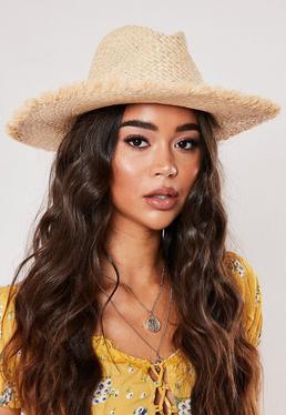 Западная соломенная шляпа с кремовой подкладкой