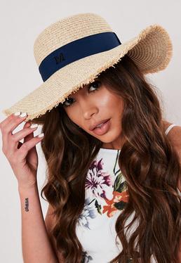 Светло-коричневая соломенная пляжная шляпа с краями