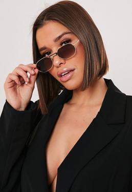 Овальные солнцезащитные очки в винтажном стиле с бронзовым оттенком