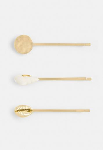 Gold Look Multi Shell Hair Slides by Missguided