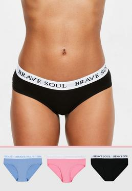 White Slogan Waisted 3 Pack Knickers