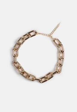 Gold Look Oval Chain Necklace
