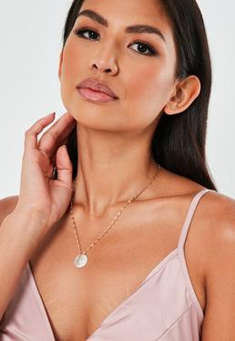 Gold Look L Pearl Initial Necklace