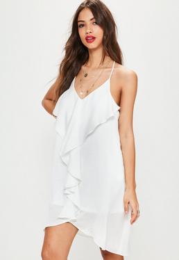 White Frill Detail Shift Dress