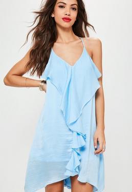 Blue Frill Detail Shift Dress