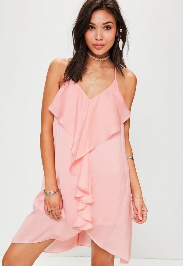 Pink Frill Detail Shift Dress