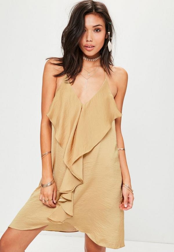 Nude Frill Detail Shift Dress