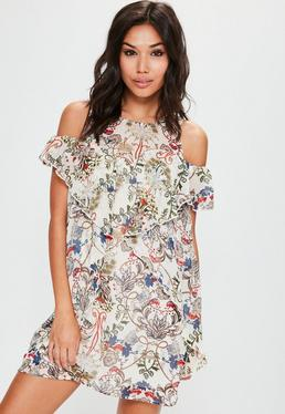 Cream Cold Shoulder Floral Shift Dress