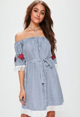 Navy Stripe Bardot Tassel Sleeve Dress