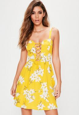 Yellow Floral Lace Up Dress