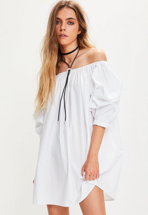 White Bardot Gathered Sleeve Mini Dress