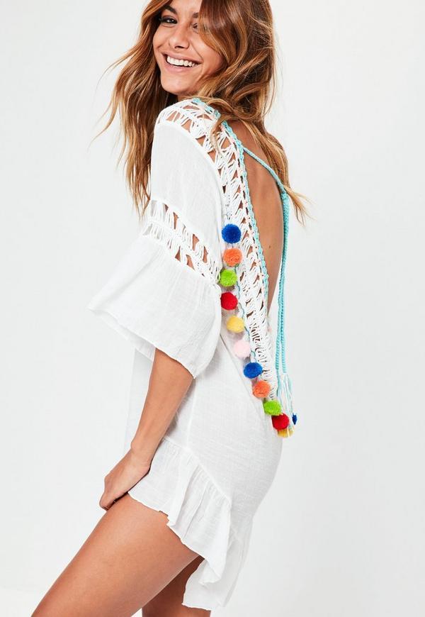 White Short Sleeve Pom Pom Beach Dress
