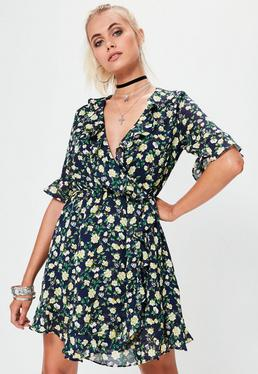 Navy Short Sleeve Frill Wrap Floral Tea Dress