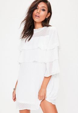 Vestido de encaje plumeti con volantes en blanco