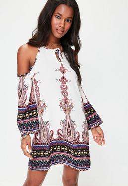 White Paisley Border Print Dress