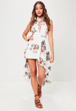 White Halter Neck Floral Printed Dress