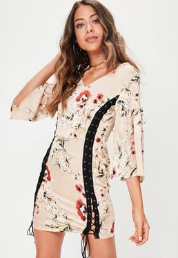 Cream Lace Up Kimono Sleeve Dress