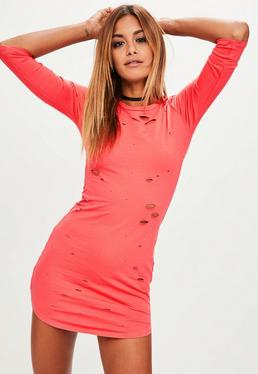 Pink Distressed Dress
