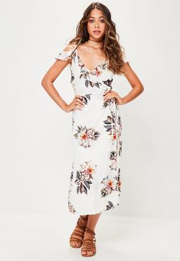 White Plunge Floral Maxi Dress