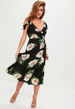 Black Plunge Floral Maxi Dress