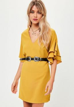 Yellow Ruffle Sleeve Shift Dress