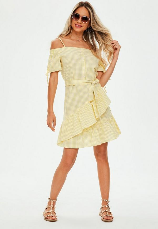 Yellow Cold Shoulder Gingham Dress
