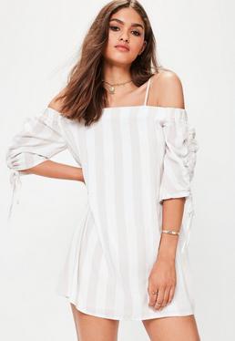 White Stripe Bardot Dress