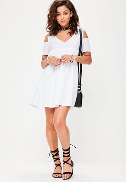 White V Neck Smock Dress