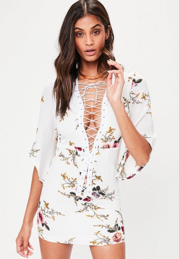 White Floral Kimono Sleeve Dress
