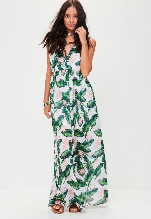 White Leaf Print Maxi Dress