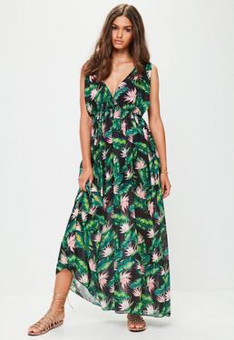 Black Leaf Print Maxi Dress