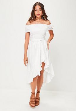White Bardot Frill Asymmetric Dress