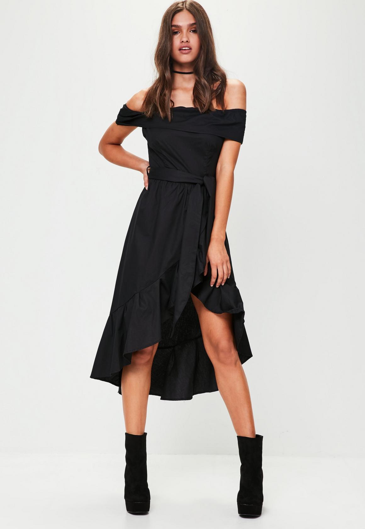 Black dress next day delivery - Black Bardot Frill Asymmetric Dress Black Bardot Frill Asymmetric Dress