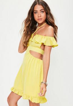 Yellow Cut Out Ruffle Dress