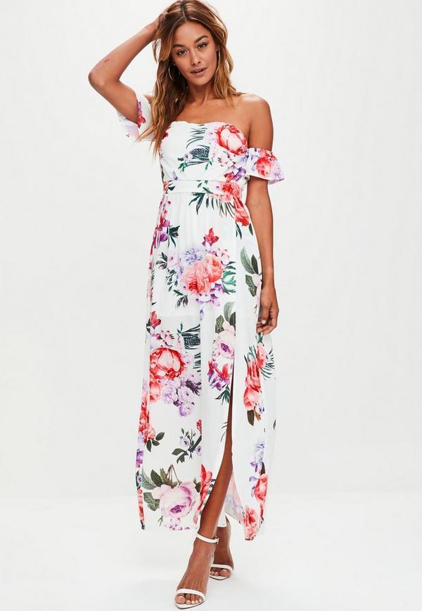 White Floral Printed Layered Bardot Dress