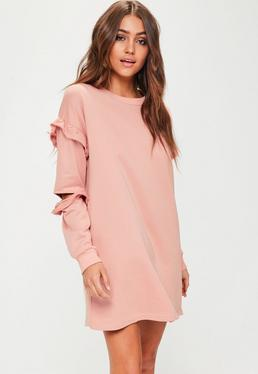 Pink Frill Sleeve Sweater Dress