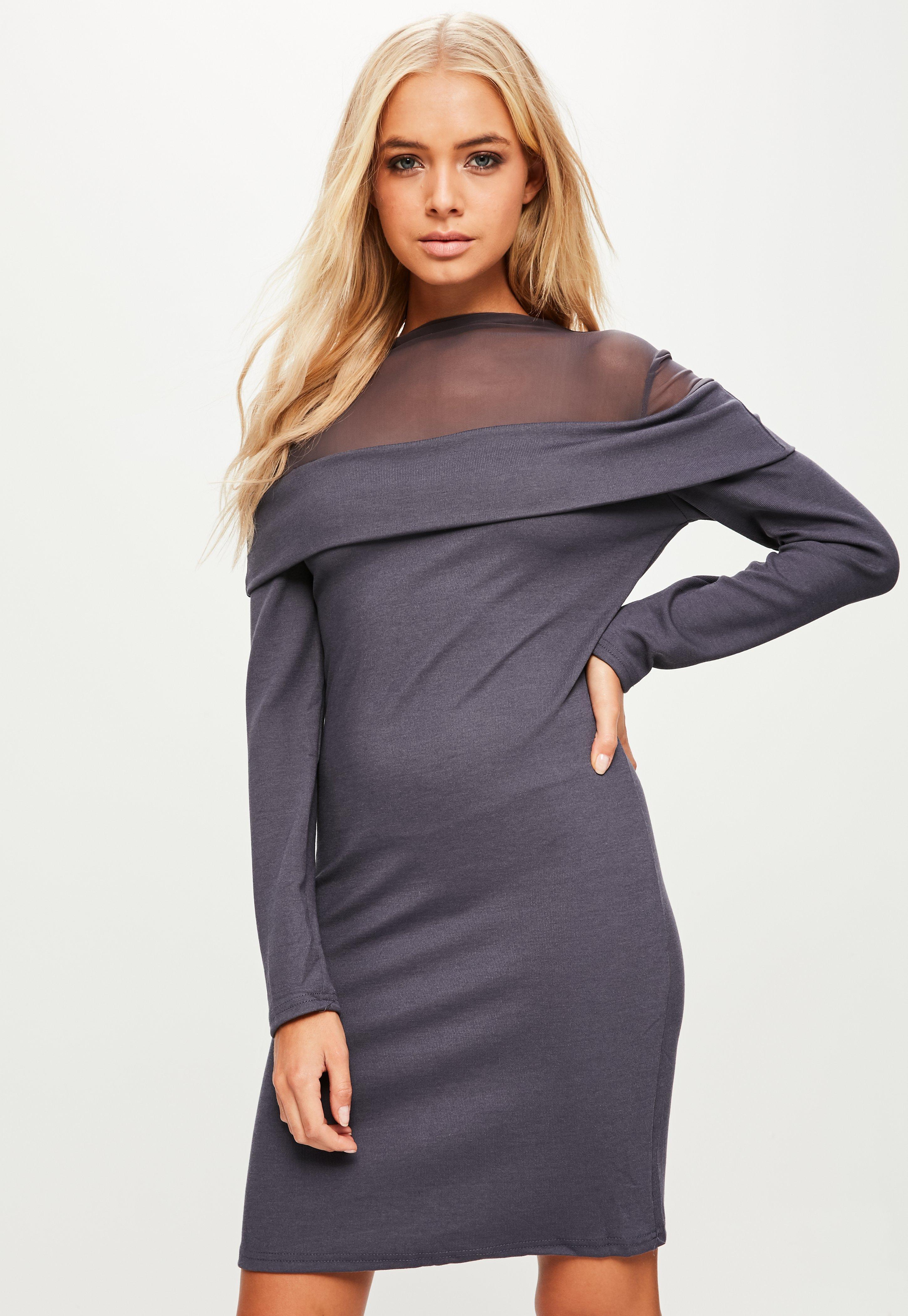 Grey Mesh Insert Sweater Dress | Missguided