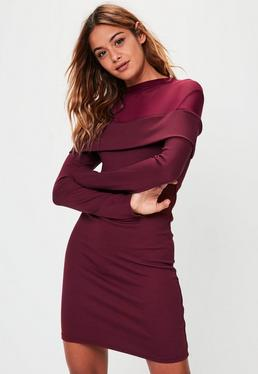 Burgundy Mesh Insert Dress