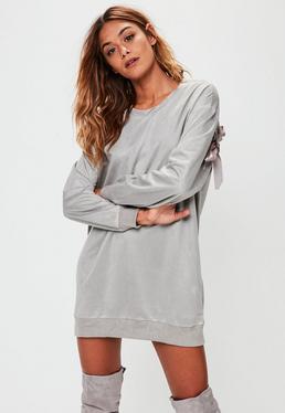 Grey Ribbon Back Suedette Dress