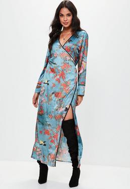Blue Silky Oriental Kimono Dress
