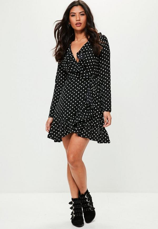 Black Frill Wrap Over Polka Dot Dress | Missguided