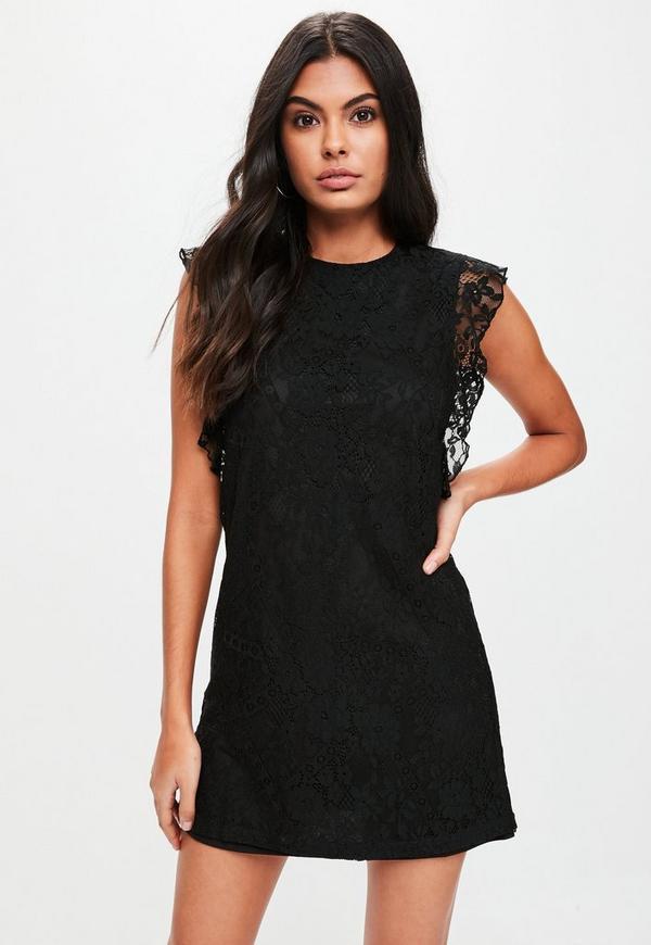 Black Lace Mini Dress | Missguided