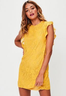 Yellow Lace Detail Smock Dress